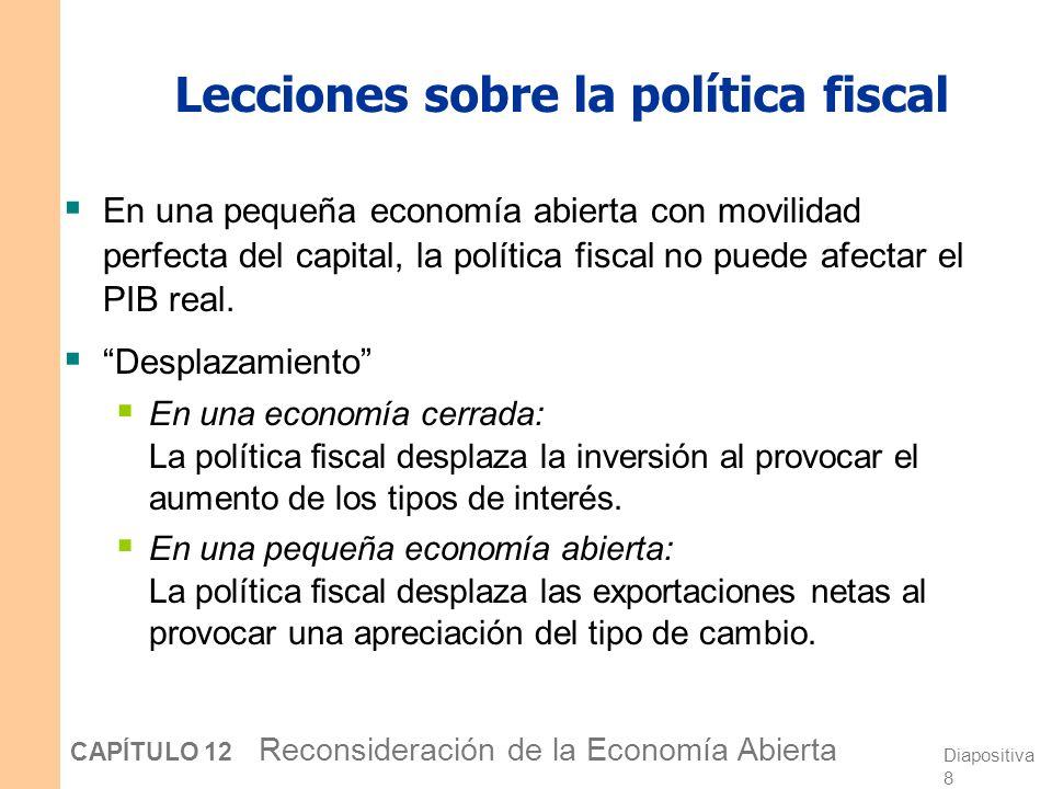 Diapositiva 7 CAPÍTULO 12 Reconsideración de la Economía Abierta La política fiscal bajo tipos de cambio fluctuantes Y e Y1Y1 e1e1 e2e2 Para cualquier