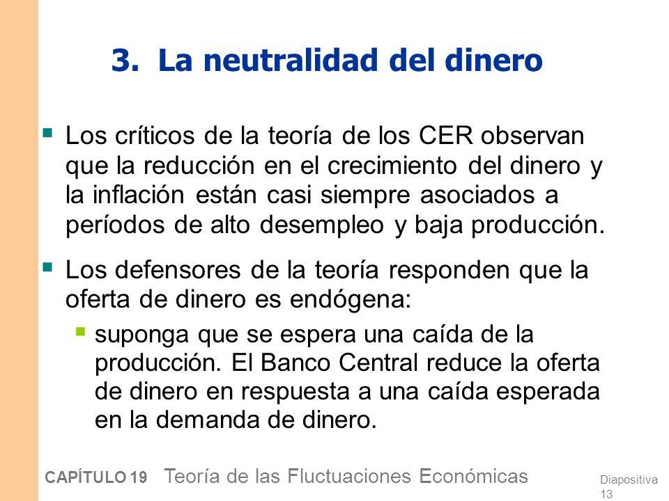 Diapositiva 12 CAPÍTULO 19 Teoría de las Fluctuaciones Económicas 2. Las perturbaciones tecnológicas Quienes defienden la teoría de los CER argumentan