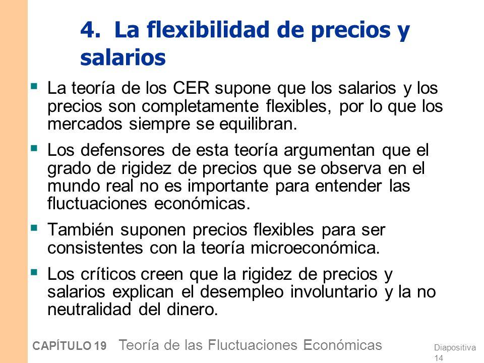 Diapositiva 13 CAPÍTULO 19 Teoría de las Fluctuaciones Económicas 3. La neutralidad del dinero Los críticos de la teoría de los CER observan que la re