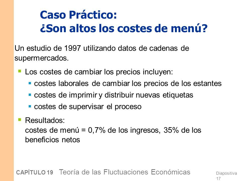 Diapositiva 16 CAPÍTULO 19 Teoría de las Fluctuaciones Económicas Bajos costes de menú y externalidades de la demanda agregada Existen externalidades
