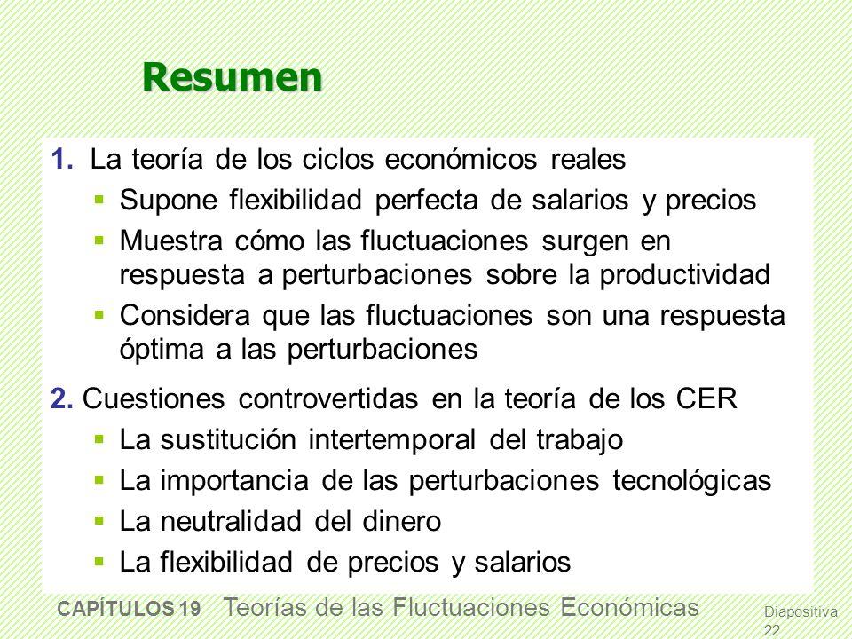 Diapositiva 21 CAPÍTULO 19 Teoría de las Fluctuaciones Económicas CONCLUSIÓN: Las fronteras de la investigación Este capítulo ha explorado dos maneras