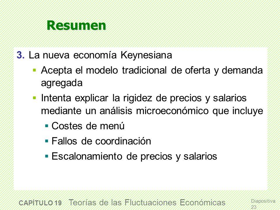 Resumen 1. La teoría de los ciclos económicos reales Supone flexibilidad perfecta de salarios y precios Muestra cómo las fluctuaciones surgen en respu