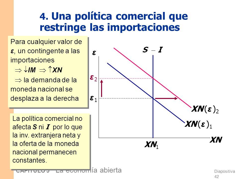 Diapositiva 41 CAPÍTULO 5 La economía abierta 3. Aumento de la demanda por inversión Un aumento en la inversión reduce la inv. extranjera neta (S-I) y