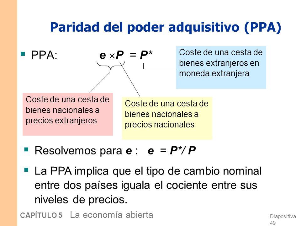 Diapositiva 48 CAPÍTULO 5 La economía abierta Paridad del poder adquisitivo (PPA) Dos definiciones: Es una doctrina que sostiene que los bienes se deb
