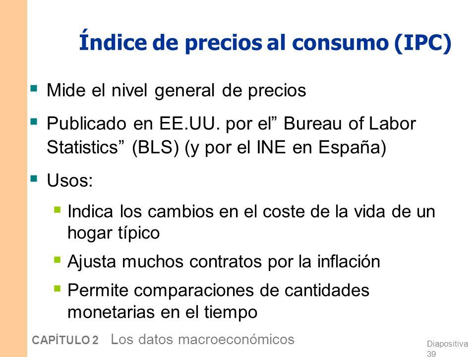 Diapositiva 38 CAPÍTULO 2 Los datos macroeconómicos Medidas encadenadas del PIB real A través del tiempo, los precios relativos cambian, por lo que el