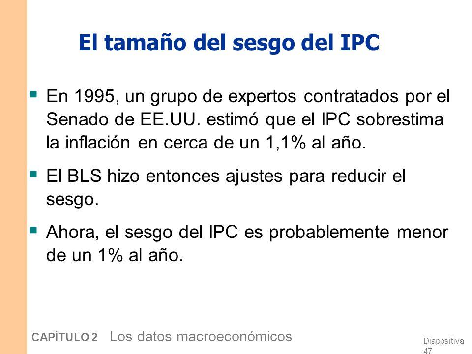 Diapositiva 46 CAPÍTULO 2 Los datos macroeconómicos Razones por las cuales el IPC puede sobrestimar la inflación Sesgo de sustitución: El IPC utiliza