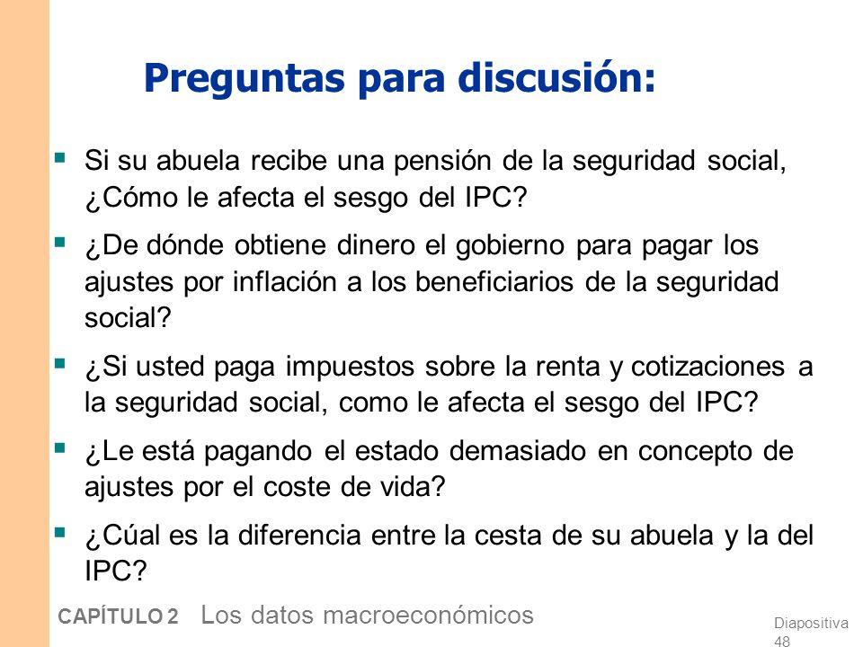 Diapositiva 47 CAPÍTULO 2 Los datos macroeconómicos El tamaño del sesgo del IPC En 1995, un grupo de expertos contratados por el Senado de EE.UU. esti