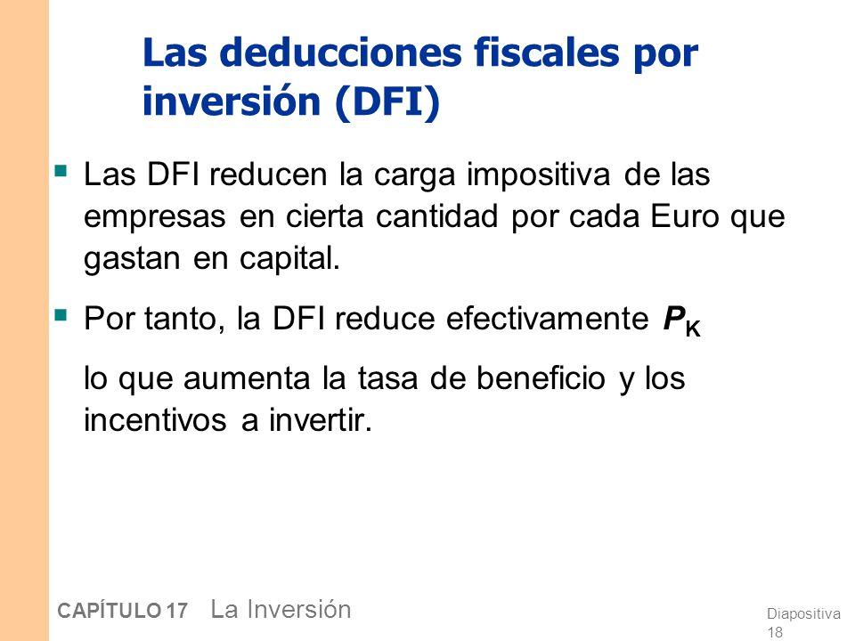 Diapositiva 17 CAPÍTULO 17 La Inversión El impuesto sobre los beneficios de las sociedades El impacto sobre la inversión depende de la definición de b