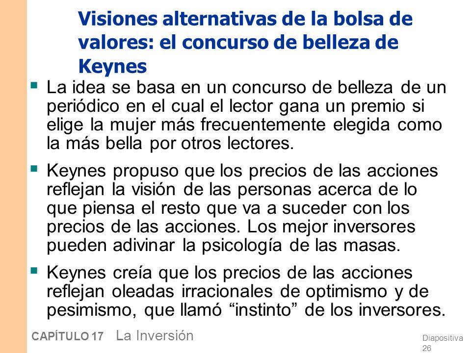 Diapositiva 25 CAPÍTULO 17 La Inversión Visiones alternativas de la bolsa de valores: La hipótesis de los mercados eficientes La hipótesis de los merc