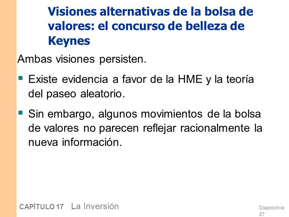 Diapositiva 26 CAPÍTULO 17 La Inversión Visiones alternativas de la bolsa de valores: el concurso de belleza de Keynes La idea se basa en un concurso