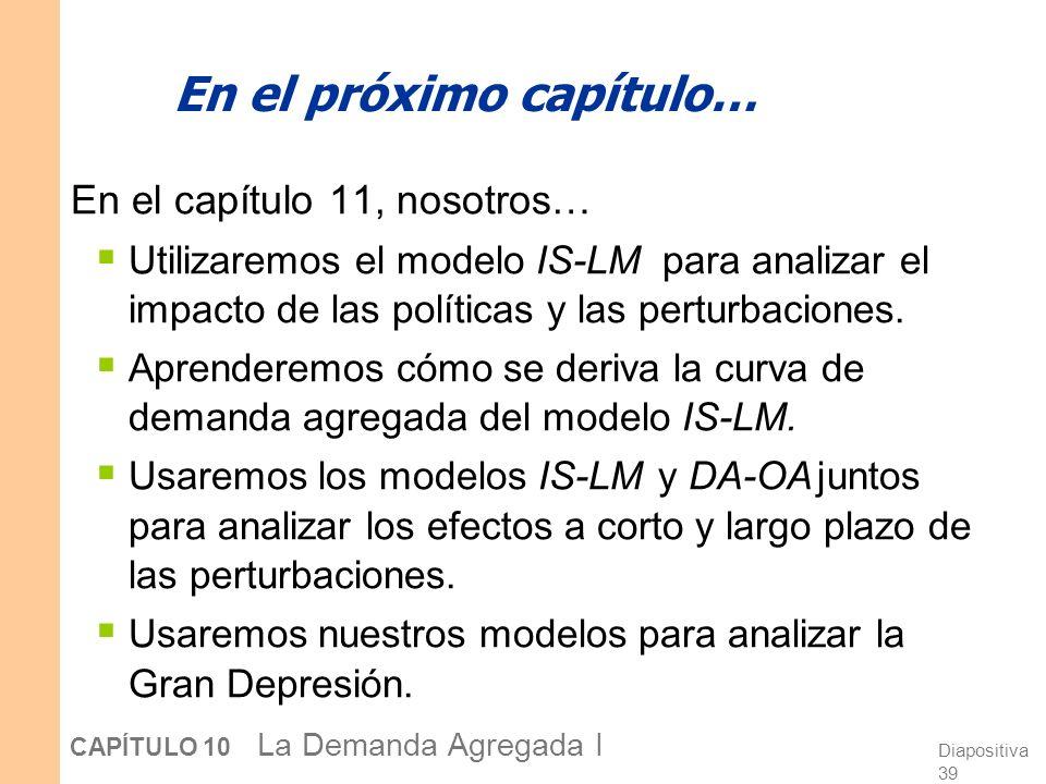 Diapositiva 38 CAPÍTULO 10 La Demanda Agregada I El esquema general Aspa Keynesiana Teoría de la preferencia por la liquidez Curva IS Curva LM Modelo