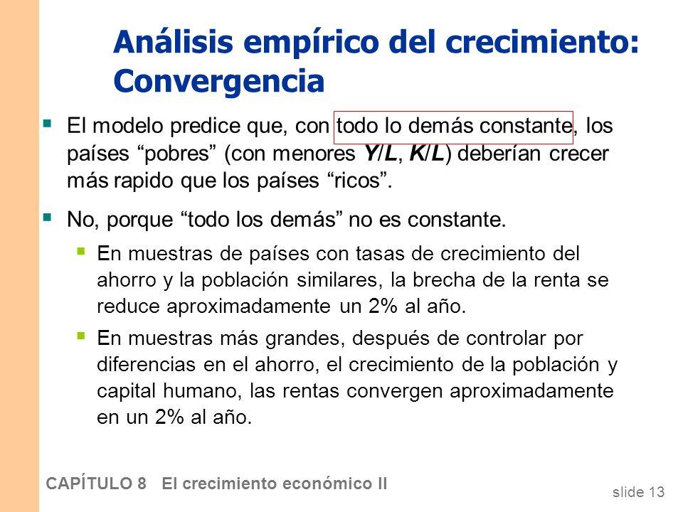 slide 12 CAPÍTULO 8 El crecimiento económico II Análisis empírico del crecimiento: Convergencia El modelo deSolow predice que, con todo lo demás const