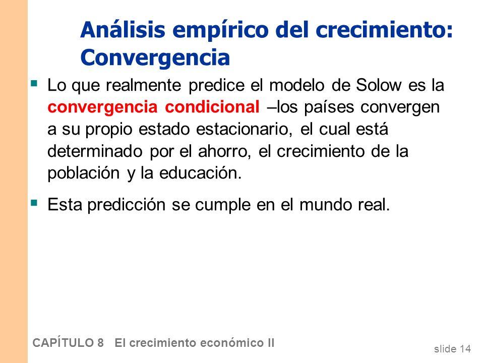 slide 13 CAPÍTULO 8 El crecimiento económico II Análisis empírico del crecimiento: Convergencia El modelo predice que, con todo lo demás constante, lo