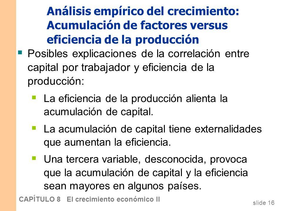slide 15 CAPÍTULO 8 El crecimiento económico II Análisis empírico del crecimiento: Acumulación de factores versus eficiencia de la producción Las dife