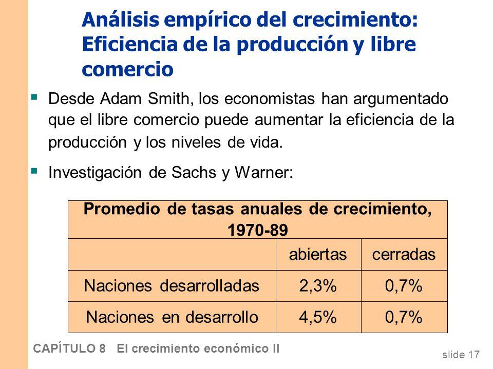 slide 16 CAPÍTULO 8 El crecimiento económico II Análisis empírico del crecimiento: Acumulación de factores versus eficiencia de la producción Posibles