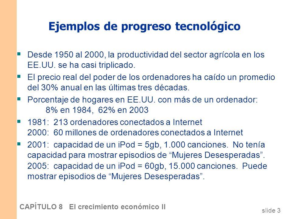 slide 2 CAPÍTULO 8 El crecimiento económico II Introducción En el modelo de Solow deI capítulo 7, La tecnología de producción se mantiene constante. L
