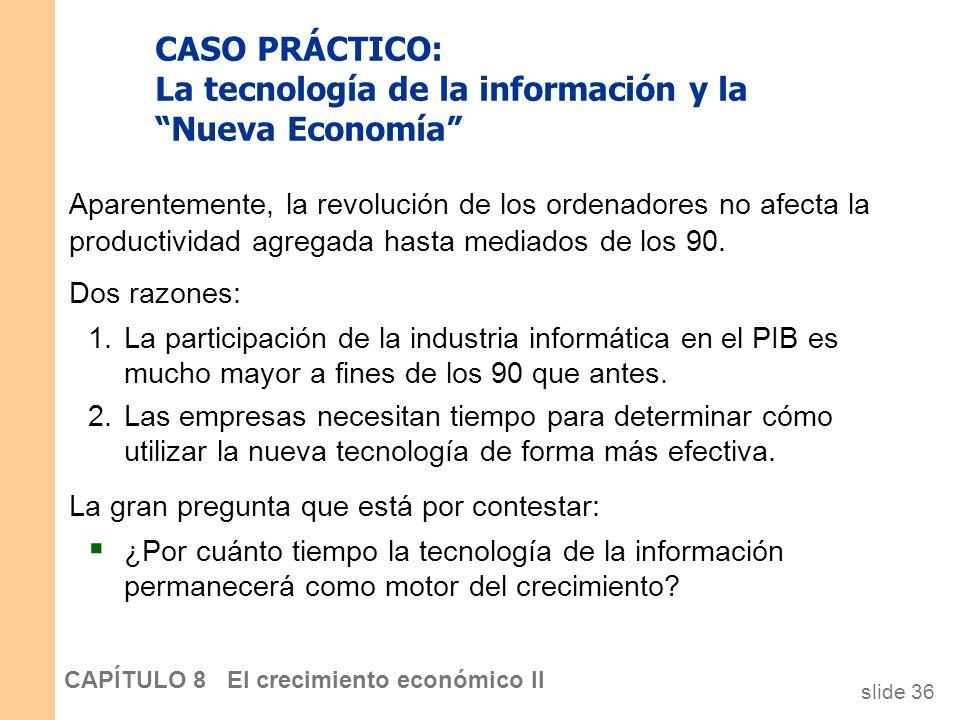 slide 35 CAPÍTULO 8 El crecimiento económico II CASO PRÁCTICO: I.T. and the New Economy 2,2 2,5 1,2 1,5 1,2 1,7 2,4 1,5 1,8 2,6 2,3 2,0 1,6 1,8 2,2 2,