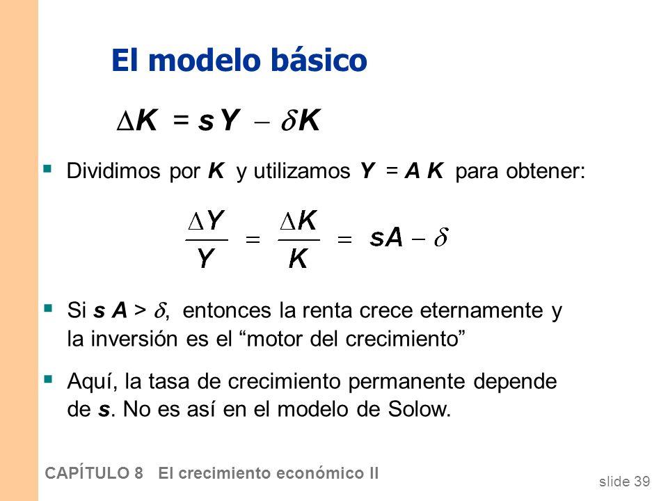 slide 38 CAPÍTULO 8 El crecimiento económico II El modelo básico La función de producción: Y = A K dónde A es la cantidad de producción por cada unida