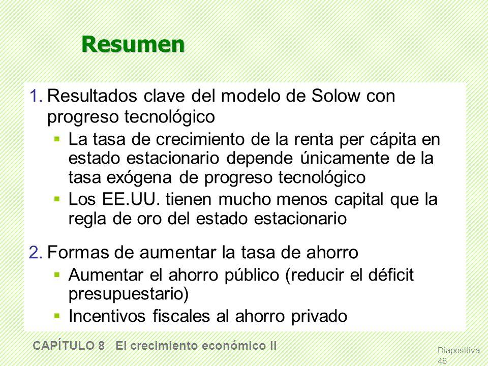 slide 45 CAPÍTULO 8 El crecimiento económico II El crecimiento económico como un proceso de destrucción creativa Schumpeter (1942) acuñó el término de