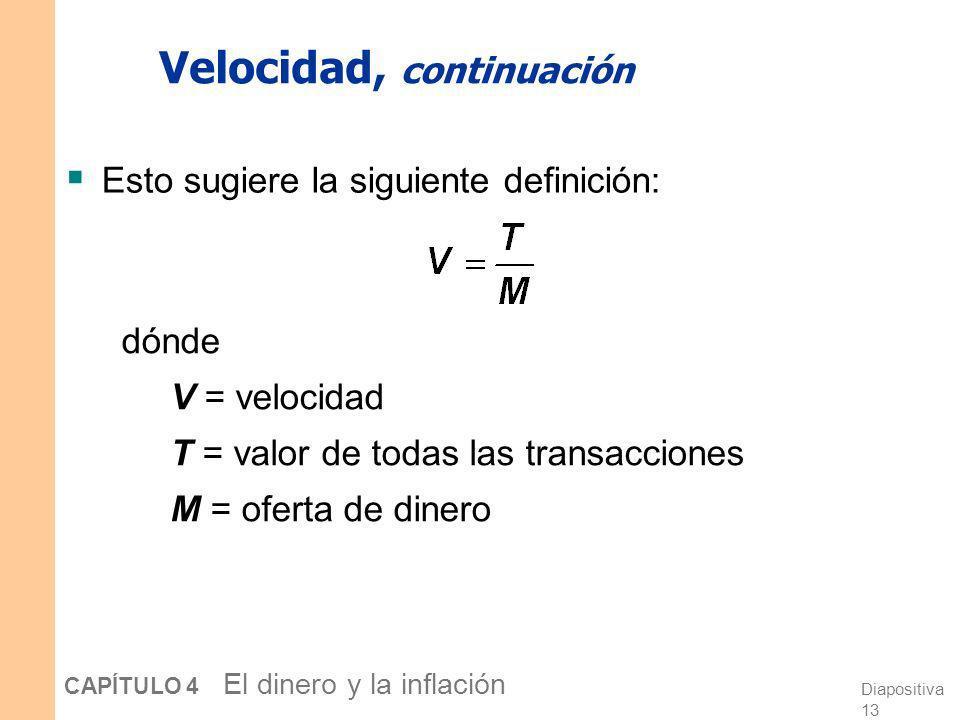 Diapositiva 12 CAPÍTULO 4 El dinero y la inflación Velocidad Concepto básico: la tasa a la cual circula el dinero Definición: el número de veces que u