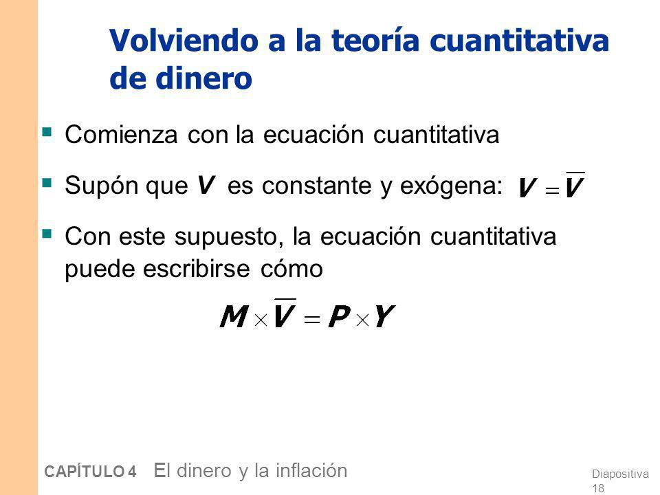 Diapositiva 17 CAPÍTULO 4 El dinero y la inflación La demanda de dinero y la ecuación cuantitativa Demanda de dinero: (M/P ) d = k Y Ecuación cuantita