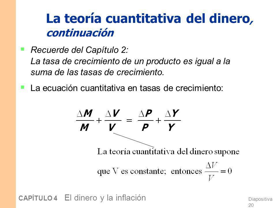 Diapositiva 19 CAPÍTULO 4 El dinero y la inflación La teoría cuantitativa del dinero, continuación Cómo se determina el nivel de precios: Con V consta