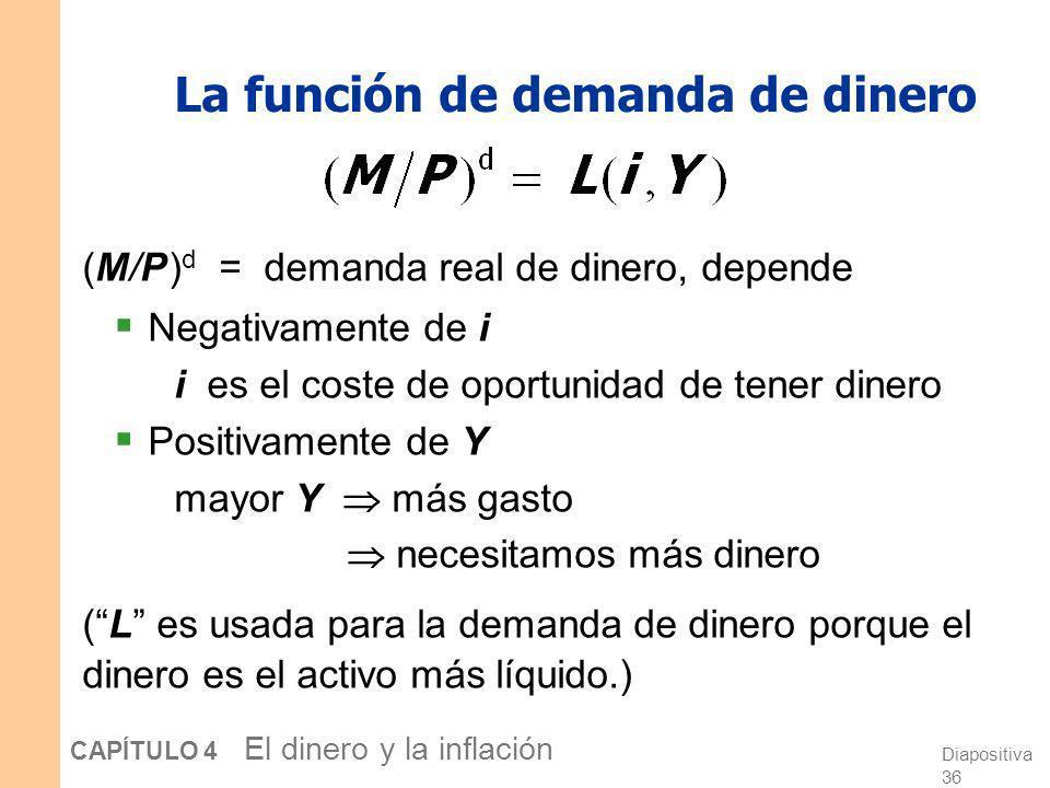 Diapositiva 35 CAPÍTULO 4 El dinero y la inflación La demanda de dinero y la tasa de interés nominal En la teoría cuantitativa del dinero, la demanda