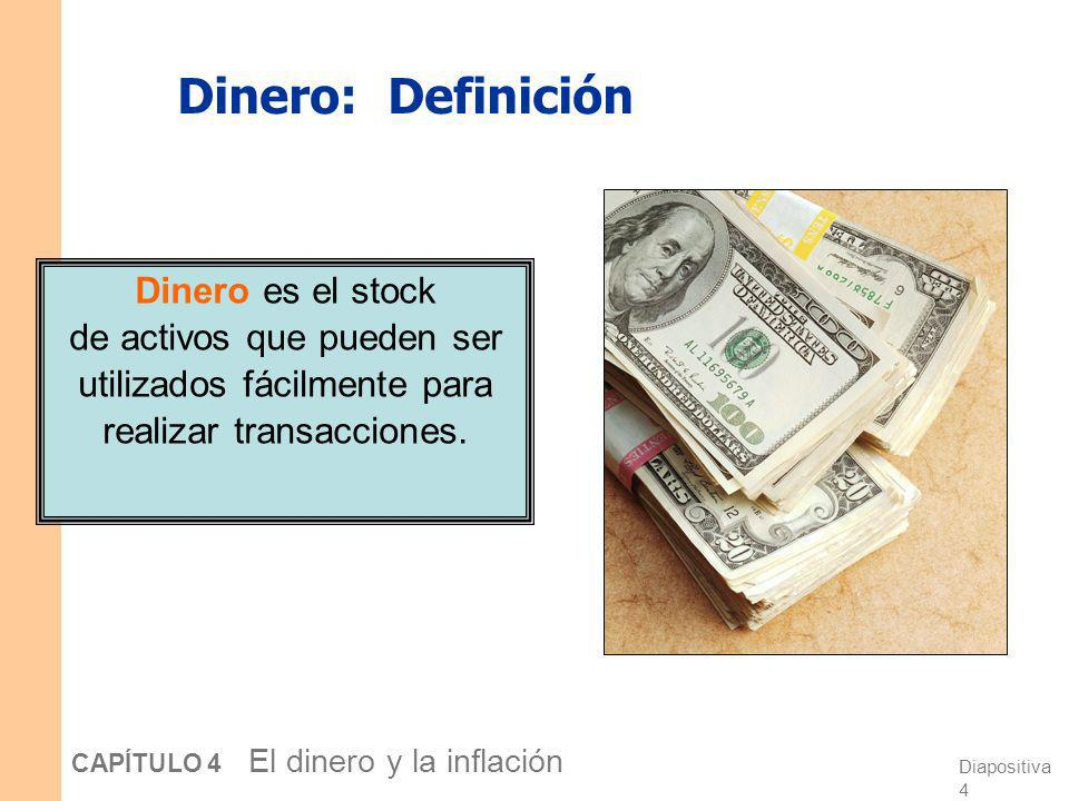 Diapositiva 3 CAPÍTULO 4 El dinero y la inflación La conexión entre dinero y precios Tasa de inflación = el incremento porcentual en el nivel medio de
