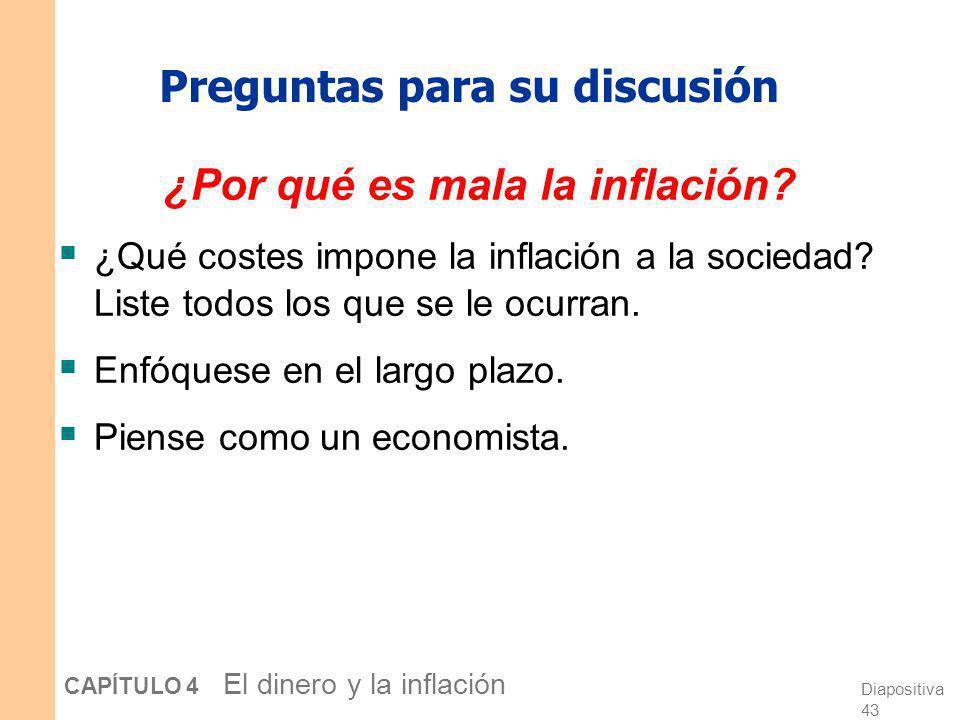 Diapositiva 42 CAPÍTULO 4 El dinero y la inflación Cómo responde P a e Para valores dados de r, Y, M,