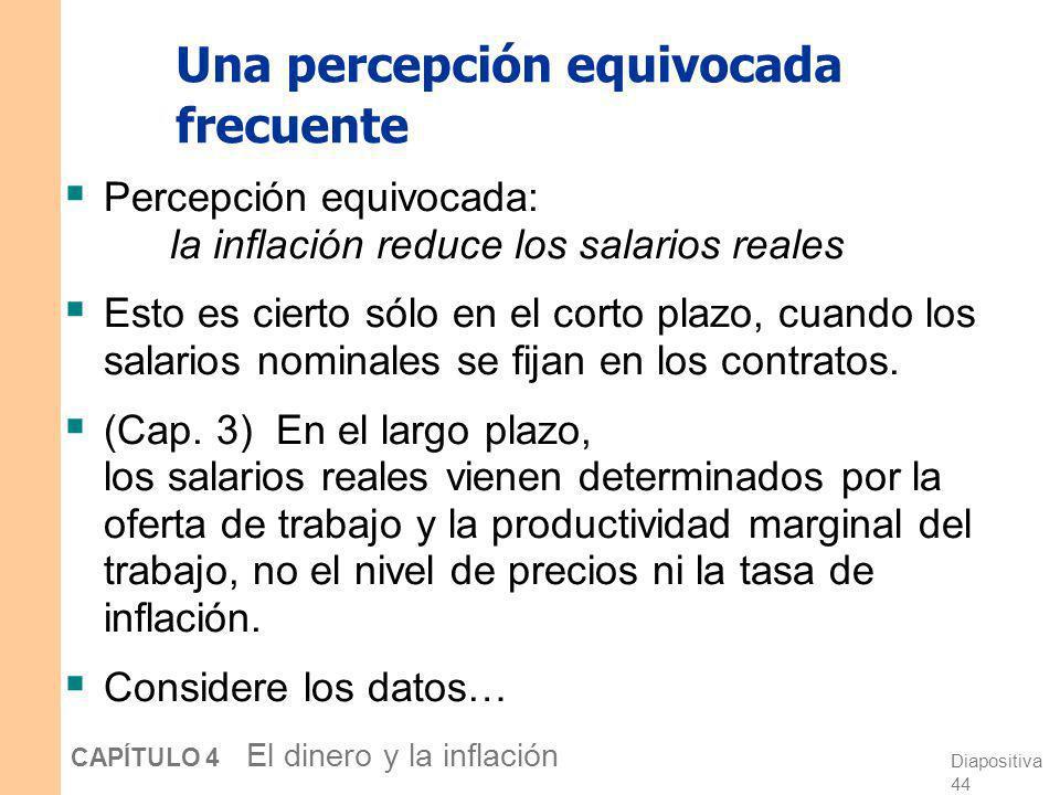 Diapositiva 43 CAPÍTULO 4 El dinero y la inflación Preguntas para su discusión ¿Por qué es mala la inflación? ¿Qué costes impone la inflación a la soc