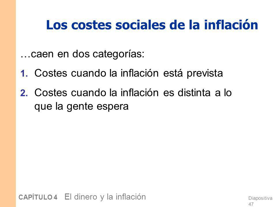 Diapositiva 46 CAPÍTULO 4 El dinero y la inflación La visión clásica de la inflación La visión clásica: Un cambio en el nivel de precios es sólo un ca