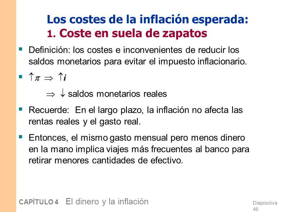 Diapositiva 47 CAPÍTULO 4 El dinero y la inflación Los costes sociales de la inflación …caen en dos categorías: 1. Costes cuando la inflación está pre