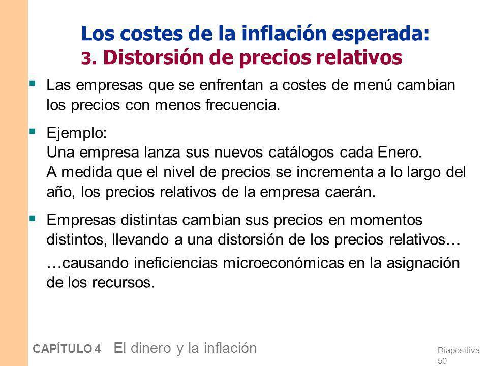 Diapositiva 49 CAPÍTULO 4 El dinero y la inflación Los costes de la inflación esperada: 2. Costes de menú Definición: El coste de cambiar los precios.