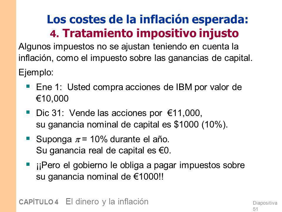 Diapositiva 50 CAPÍTULO 4 El dinero y la inflación Los costes de la inflación esperada: 3. Distorsión de precios relativos Las empresas que se enfrent
