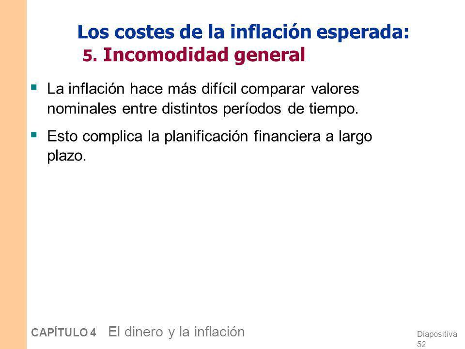 Diapositiva 51 CAPÍTULO 4 El dinero y la inflación Los costes de la inflación esperada: 4. Tratamiento impositivo injusto Algunos impuestos no se ajus