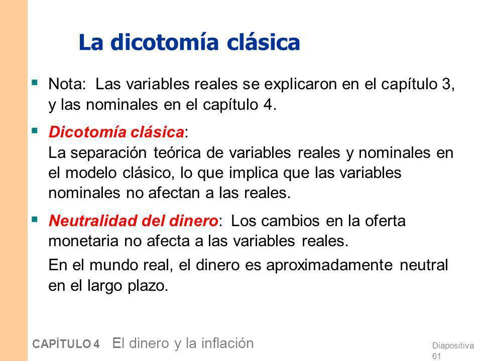 Diapositiva 60 CAPÍTULO 4 El dinero y la inflación La dicotomía clásica Variables reales: Medidas en unidades físicas y precios relativos, por ejemplo