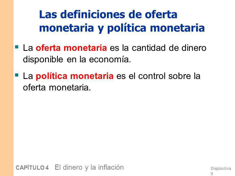 Diapositiva 7 CAPÍTULO 4 El dinero y la inflación Preguntas de discusión ¿Cuáles de los siguientes elementos son dinero? a. Efectivo b. Cheques c. Dep