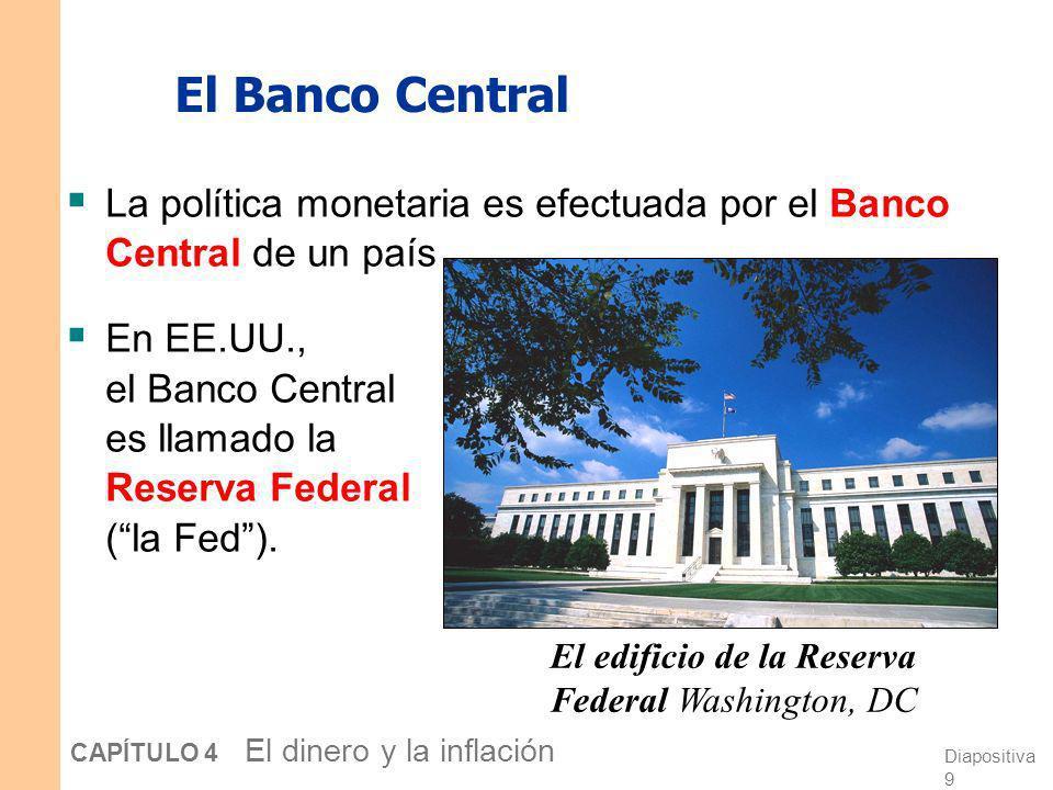 Diapositiva 8 CAPÍTULO 4 El dinero y la inflación Las definiciones de oferta monetaria y política monetaria La oferta monetaria es la cantidad de dine