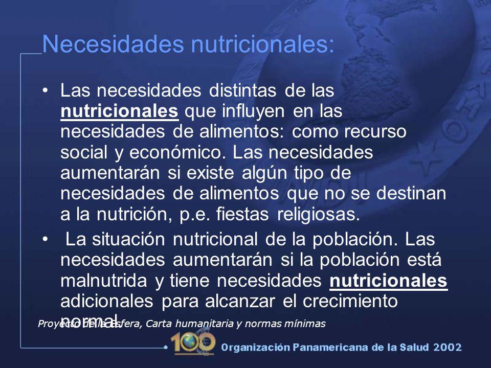 Las necesidades distintas de las nutricionales que influyen en las necesidades de alimentos: como recurso social y económico.