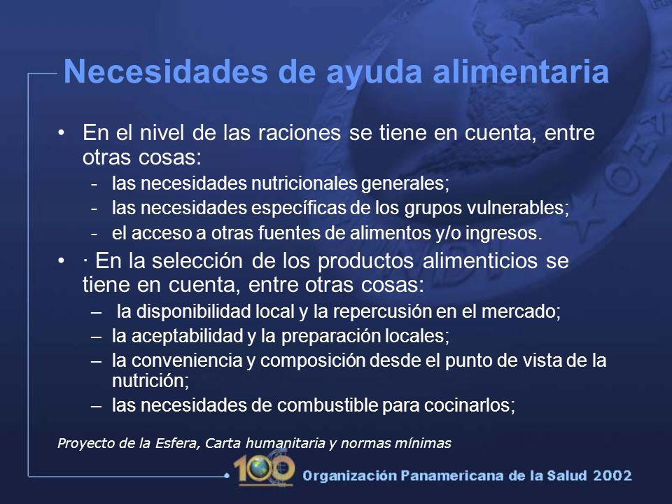 En el nivel de las raciones se tiene en cuenta, entre otras cosas: -las necesidades nutricionales generales; -las necesidades específicas de los grupos vulnerables; -el acceso a otras fuentes de alimentos y/o ingresos.