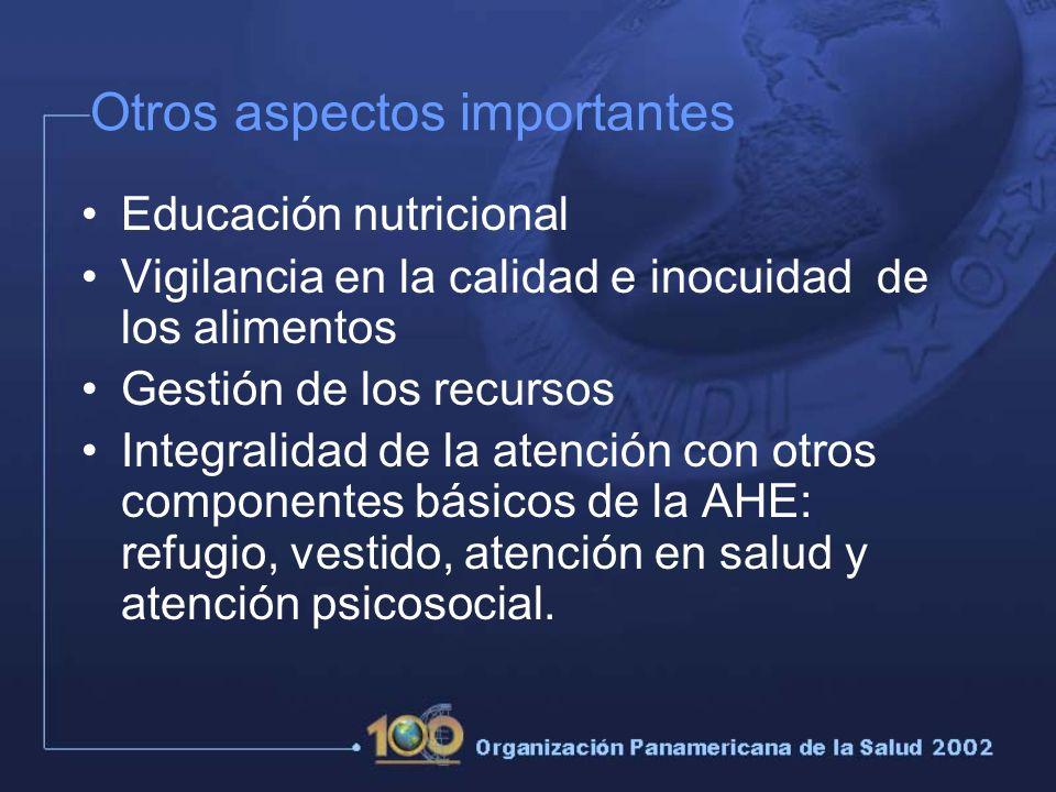 Otros aspectos importantes Educación nutricional Vigilancia en la calidad e inocuidad de los alimentos Gestión de los recursos Integralidad de la atención con otros componentes básicos de la AHE: refugio, vestido, atención en salud y atención psicosocial.