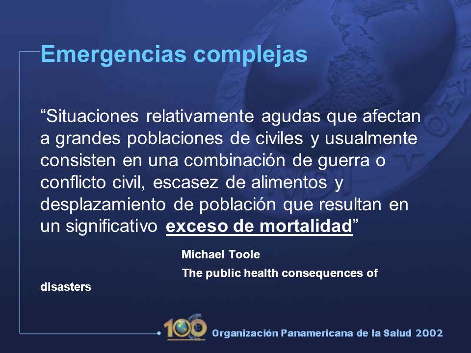 El término emergencia política compleja ha sido acuñado para describir las características comunes de situaciones contemporáneas que requieren intervención humanitaria.