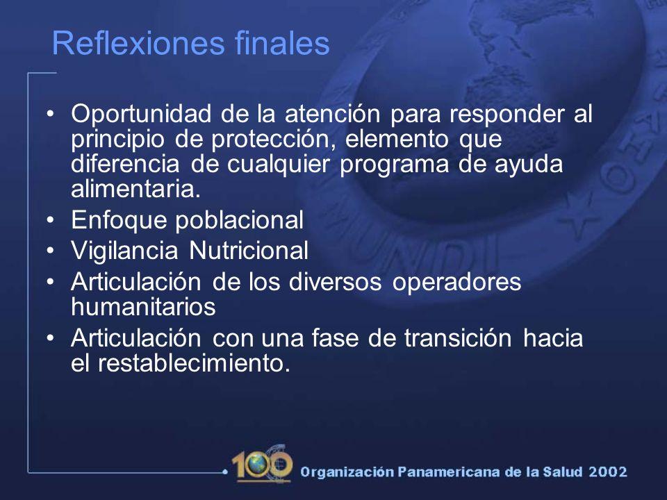 Reflexiones finales Oportunidad de la atención para responder al principio de protección, elemento que diferencia de cualquier programa de ayuda alimentaria.