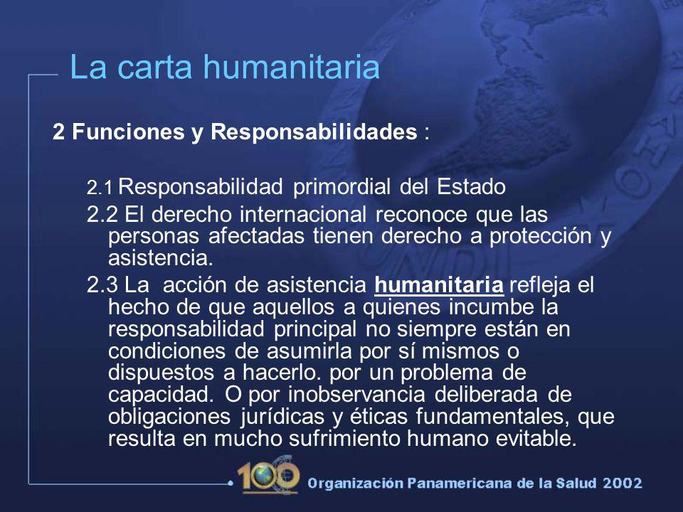 2 Funciones y Responsabilidades : 2.1 Responsabilidad primordial del Estado 2.2 El derecho internacional reconoce que las personas afectadas tienen derecho a protección y asistencia.