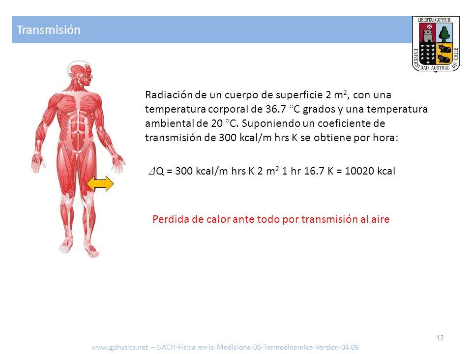 Transmisión de calor www.gphysics.net – UACH-Fisica-en-la-Mediciona-06-Termodinamica-Version-04.09 Calor transportado [J o cal] Coeficiente de transmisión [J/s m 2 K o kcal/hrs m 2 K] Sección del conductor [m 2 ] Tiempo transcurrido [s o hrs] Diferencia de temperatura [ °K o ° C] 13