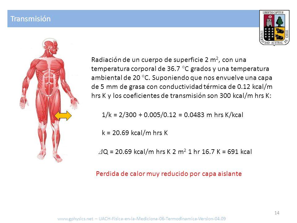 Radiación www.gphysics.net – UACH-Fisica-en-la-Mediciona-06-Termodinamica-Version-04.09 Calor irradiado [J o cal] Tiempo transcurrido [s o hrs] Constante de Stefan Boltzmann [4.87x10 -8 kcal/hrs m 2 K 4 = 5.67x10 -8 J/s m 2 K 4 ] Grado de emisión Sección del emisor [m 2 ] Temperatura del cuerpo 1 [ °K ] Temperatura del cuerpo 2 [ °K ] 15