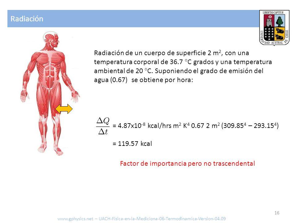 Evaporación www.gphysics.net – UACH-Fisica-en-la-Mediciona-06-Termodinamica-Version-04.09 Calor irradiado [J o cal] Masa evaporada [kg] Energía de evaporación [kcal/kg o J/kg] Para 1 kg de sudor con una energía de evaporación de 538.9 kcal/kg.