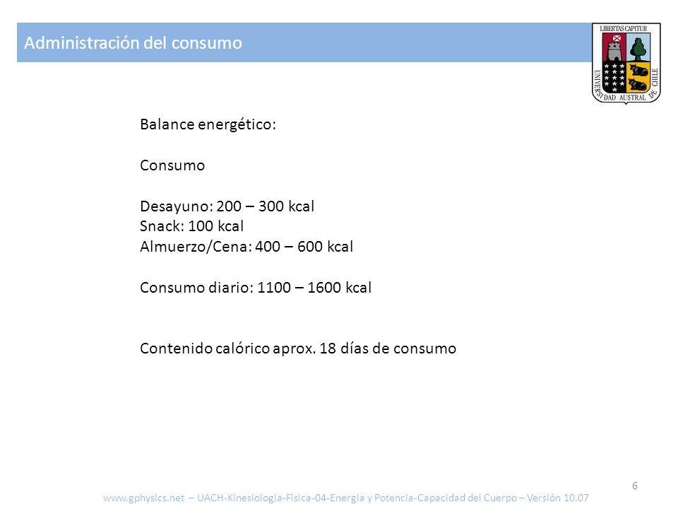 Administración del consumo www.gphysics.net – UACH-Kinesiologia-Fisica-04-Energia y Potencia-Capacidad del Cuerpo – Versión 10.07 Consumo por actividad medidos en Met = Kcal /Kg hrs Ej.