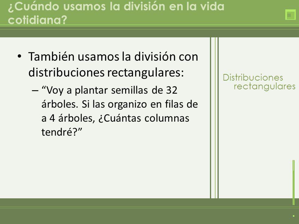 ¿Cuándo usamos la división en la vida cotidiana? También usamos la división con distribuciones rectangulares: – Voy a plantar semillas de 32 árboles.