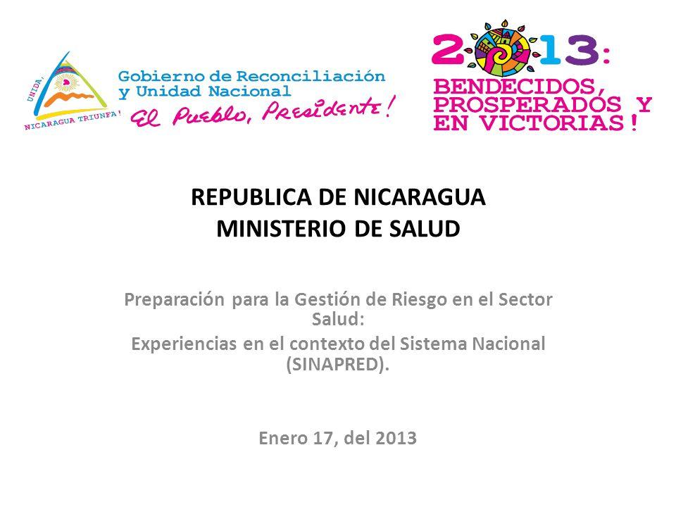 REPUBLICA DE NICARAGUA MINISTERIO DE SALUD Preparación para la Gestión de Riesgo en el Sector Salud: Experiencias en el contexto del Sistema Nacional